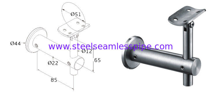 Stainless steel fittings for Handrail Bracket Glass Tube Stair system  SS201 SS304 SS316