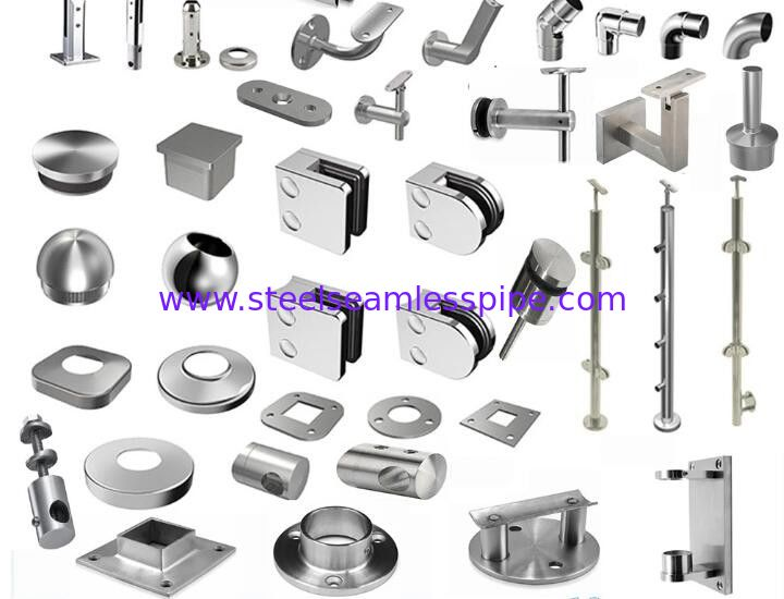 SS handrail / Staircase fittings TP304( pipe carrier , bracket , base cover , end cap , elbow flexible connector top )