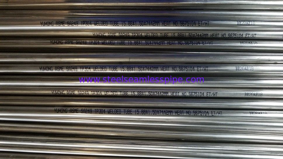 ASME SA249 / ASTM A249 TP304 TP316L TP321 Stainless Steel Welded Tube Bright Annealed Plain End 100% HT+100% ET