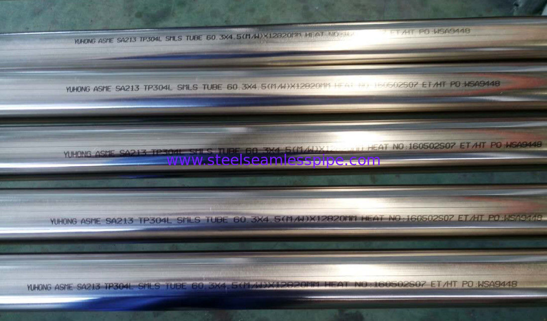 Bright Annealed Stainless Steel Tube ASTM A213 / ASME SA213-17 TP304L 60.3x4.5( M / W )X12820MM For Heat Exchanger